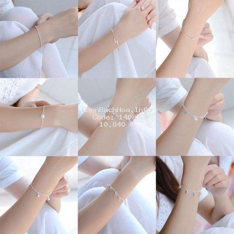 Vòng tay mạ bạc thiết kế nhiều kiểu dáng thời trang xinh xắn cho nữ