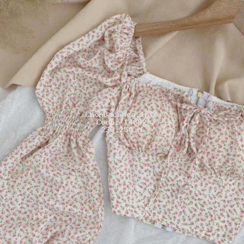 Áo croptop hoa nhí, áo hoa nữ đẹp phong cách hàn quốc, kiểu tay phồng có nhún, kiểu dáng trẻ trung, dễ phối đồ
