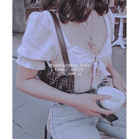 Áo Kiểu Nữ Laura Top, Áo Croptop Cúp Ngực Ngắn Tay Tiểu Thư Thiết Kế Tỉ Mỉ Khoe Vòng Eo Chuẩn, Trẻ Trung Dịu Dàng.
