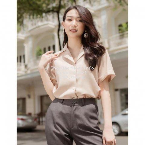 Áo Sơ Mi Nữ Ngắn Tay, Áo Kiểu Nữ Hàn Quốc Chất Vải Cao Cấp Dáng Suông, Form Chuẩn, Màu Cơ Bản Mặc Tôn Dáng.