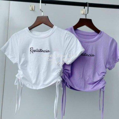 Áo thun nữ, áo kiểu nữ rút eo 2 bên cột nơ chữ _ Hàng đẹp
