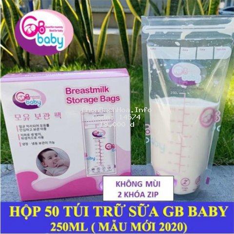 (Bao bì mới) Hộp 50 túi trữ sữa mẹ 250ml GB Baby (Hàn Quốc)
