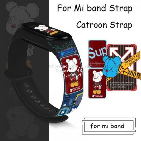 Dây đeo silicon họa tiết hoạt hình thay thế cho đồng hồ thông minh Xiaomi Mi Band 5 Mi Band 4 3