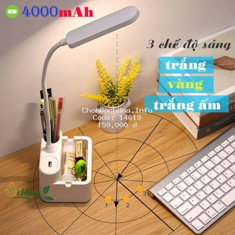 Đèn học để bàn chống cận sạc pin SL-868 4000mAh với 3 chế độ ánh sáng trắng, vàng và trắng ấm điều chỉnh được độ sáng