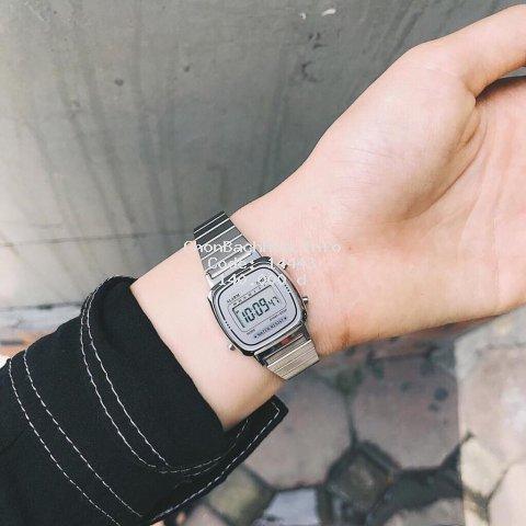Đồng hồ nữ DH01 điện tử dây thép chống nước phong cách Vintage LA670
