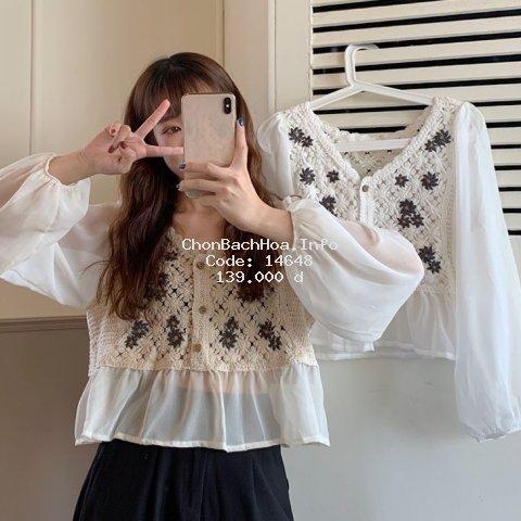 [Mã FASHIONG30 hoàn 15% tối đa 30K xu đơn 150K] Áo kiểu vải voan tay dài xinh xắn thanh lịch dành cho nữ
