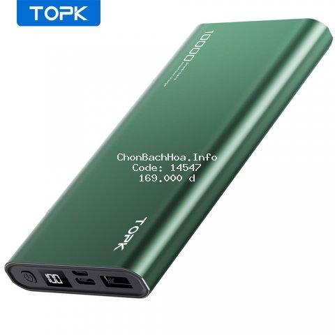 Sạc Dự Phòng TOPK I1006 10000mAh Cho iPhone Huawei Samsung Xiaomi Oppo Vivo Realme Hai Cổng Dung Lượng Có Màn Hình Điện Tử