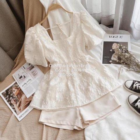Set Áo Quần Ulzzang, Áo Nữ Kiểu Baby Doll Hoa Nổi Mix Quần Short Chất Vải Cao Cấp Dày Dặn Phong Cách Hiện Đại, Năng Động