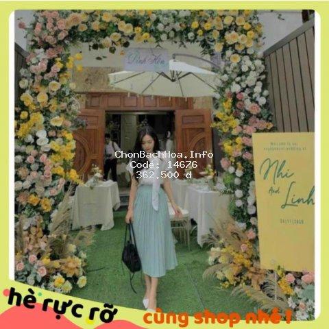 Sét Đồ Nữ, Áo Kiểu Nơ Cổ Lệch Phối Chân Váy Dập Ly Xanh Sang Chảnh.