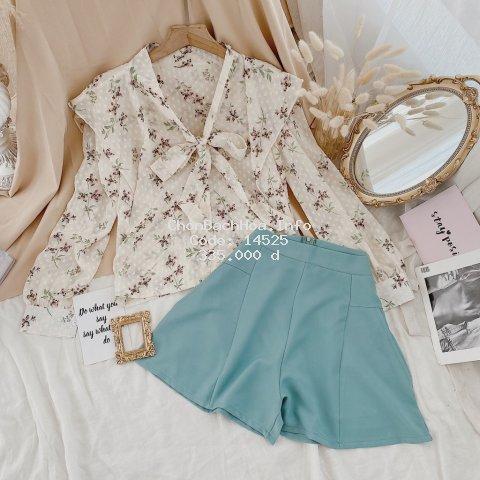 Set Đồ Nữ, Áo Kiểu Ren Hoa Nơ Cổ Kèm Quần Ngắn Lưng Cao Có Dây Kéo Chất Liệu Cao Cấp Form Dáng Siêu Xinh.