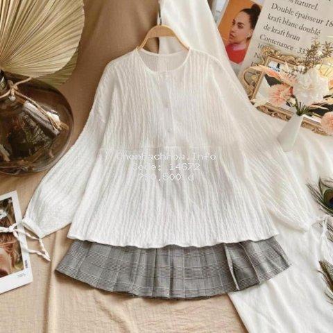 Set đồ phong cách hàn quốc, áo babydoll và chân váy kẻ, chất vải mềm mát, kiểu dáng trẻ trung, năng động