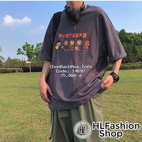 Áo thun tay lỡ form rộng Unisex siêu anh hùng cực cool, áo phông nam nữ size HLFashion