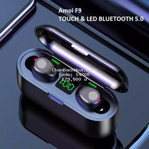 Tai nghe Bluetooth AMOI F9 TWS 5.0 bản QUỐC TẾ không dây cảm ứng chống nước IPX5, chống ồn tích hợp sạc dự phòng 2500mAh