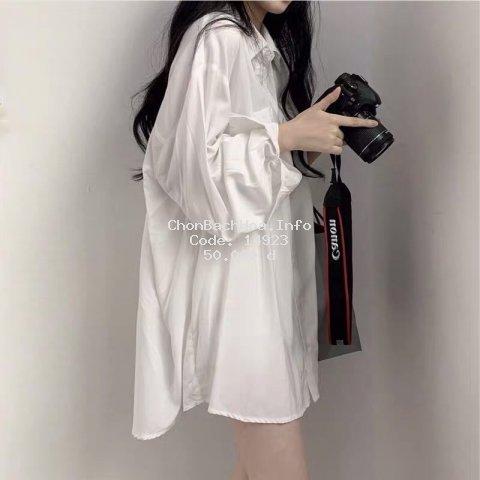 Áo sơ mi kiểu trắng nữ form rộng lụa tay phồng hàn quốc đẹp dài tay trơn cổ bẻ ulzzang vintage truehastore SM31