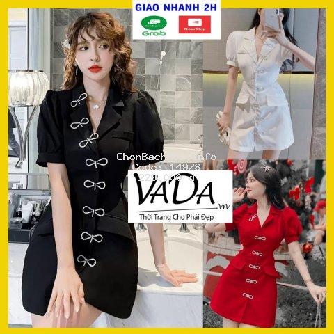 Đầm cổ vest khoét eo đi dự tiệc cưới, đi bar, hàng đẹp cao cấp - Thời trang VADA - Đ0010