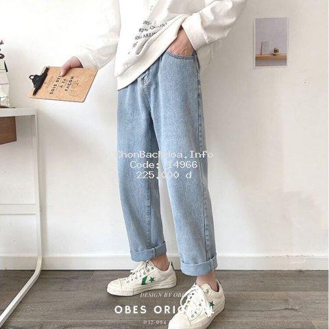 [Mã FAGREAT245 giảm 8% tối đa 50K đơn từ 250K] [OBES] Quần jeans xanh trơn Regular-fit Jeans mã QT208