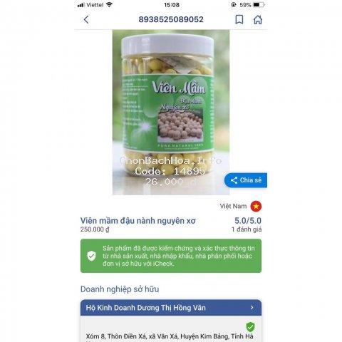 viên mầm đậu nành nguyên xơ ( có mã check )