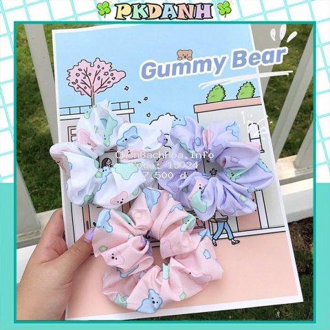 Cột tóc Scrunchies Gấu, dây buộc tóc vải Gummy Bear