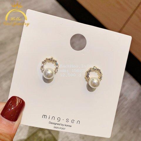 Hoa tai mạ bạc 925 hình tròn đính ngọc trai giả và kim cương nhân tạo xinh xắn cho nữ