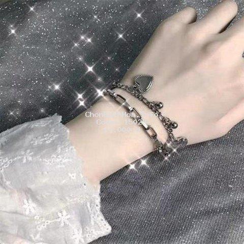 Vòng đeo tay hai lớp hình trái tim phong cách cổ điển hiphop Hàn