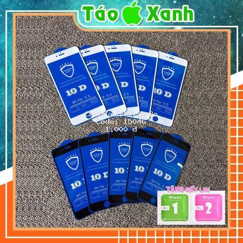 Cường Lực Iphone Full màn 10D - Cường lực ip (tặng khách giấy lau Khô - Ướt)