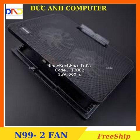 Đế Tản Nhiệt Laptop N99 COOLING PAD cho laptop từ 17 inch trở xuống- Loại Cao Cấp, 1 Fan/ 2 Fan , Đế Nâng 45 Độ