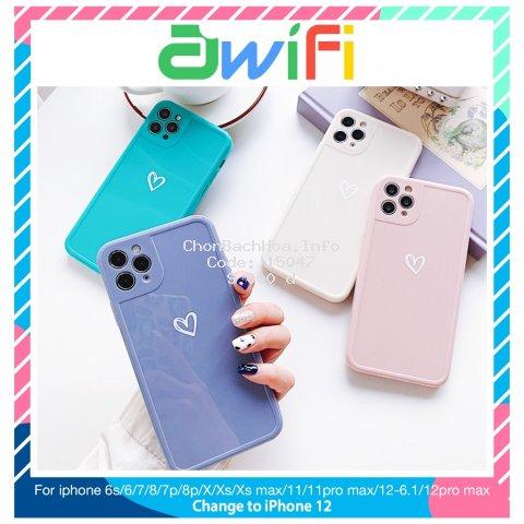 Ốp lưng iphone viền nổi trái tim 5s/6/6plus/6s/6splus/7/7plus/8/8plus/x/xr/xs/11/12/pro/max/plus/promax - Awifi U5-2