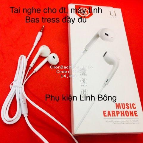 (Ảnh thật) TAI NGHE ĐIỆN THOẠI CÓ DÂY EARPHONE L1 màu trắng phù hợp tất cả các dòng điện thoại