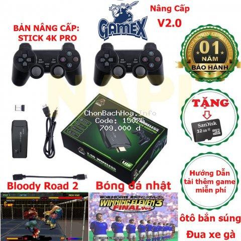 Máy Chơi Game Stick 4k - HDMI 3550 trò + tặng 20 game đĩa bản quyền, game 4 nút, 6 nút, PS1/GBA/GBC/GB/NES/SNES