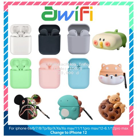 Tai Nghe Bluetooth Không Dây inpods i12 TWS | Vỏ ốp lưng Case Airpods 1/2 - Awifi Case