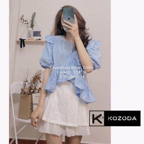 Áo babydoll kiểu cộc tay bèo gấu hai màu xanh, trắng vintage phong cách Hàn Quốc Kozoda SM37