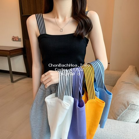 Áo dệt kim hai dây không tay màu trơn kẻ sọc phong cách Hàn Quốc