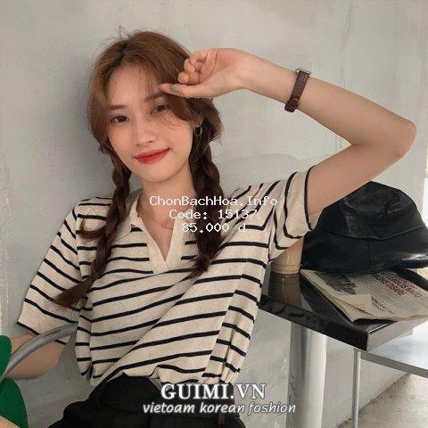Áo Dệt Kim Thun Ngắn Tay Dáng Rộng Kẻ Sọc Kiểu Hàn Quốc Thời Trang Mùa Hè Cho Nữ áo sọc ngang