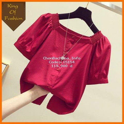 Áo kiểu tay ngắn cổ vuông phong cách Hàn Quốc thời trang cho nữ (mã L20 King of Fashion)