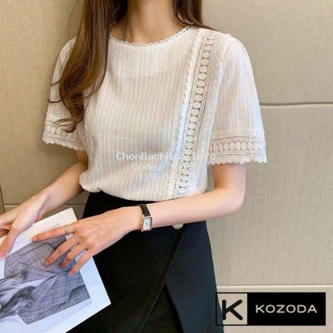 Áo Sơ Mi Kiểu Nữ Màu Trắng đẹp ngắn tay phong cách ulzzang vintage hàn quốc cao cấp họa tiết ren kozoda SM8a