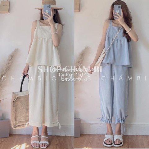 Set quần áo nữ S.059, Set áo hai dây babydoll và quần bom rút dây Hàn Quốc (mặc được hai kiểu quần ống suông và bom)