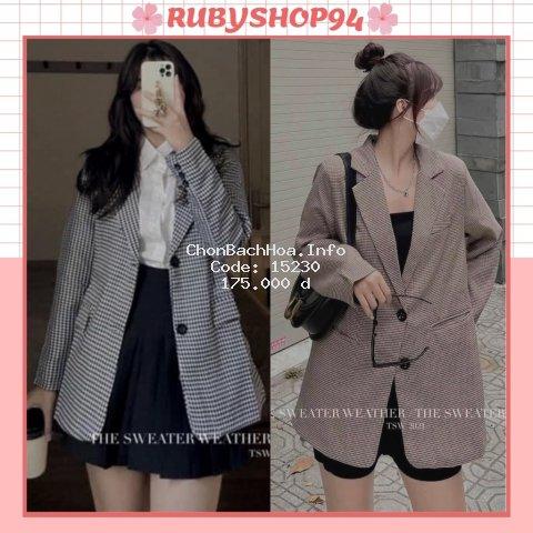 Áo Blazer nữ 2 lớp kiểu Hàn Quốc, Áo Vest nữ khoác ngoài kẻ nhỏ đẹp