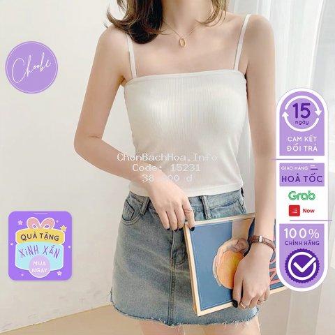 Áo kiểu 2 dây choobe nữ dáng ôm vải cotton co giãn có chốt điều chỉnh nhiều màu sắc A11