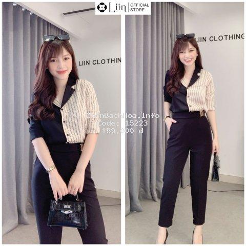 Áo sơ mi nữ màu Đen cao cấp phối Chữ kết hợp Cổ Vest sành điệu Liin Clothing SM3060
