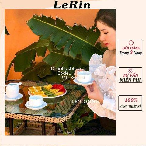 Áo Trễ Vai Trắng Áo Kiểu Nữ Hoạ Tiết Bèo Tiểu Thư_LeRin A33