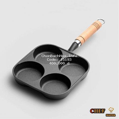 Chảo Chiên, Rán, Ốp Trứng Làm Bánh 4 Ngăn  (Lỗ) Kiểu Nhật Gang Đúc 100% Chống Dính Tay Cầm Gỗ Dùng Bếp Từ Bếp Ga