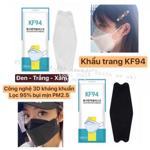 (gói 10c) KHẨU TRANG KF94 CHỐNG BỤI MỊN PM2.5 CÔNG NGHỆ HÀN (mẫu mới)