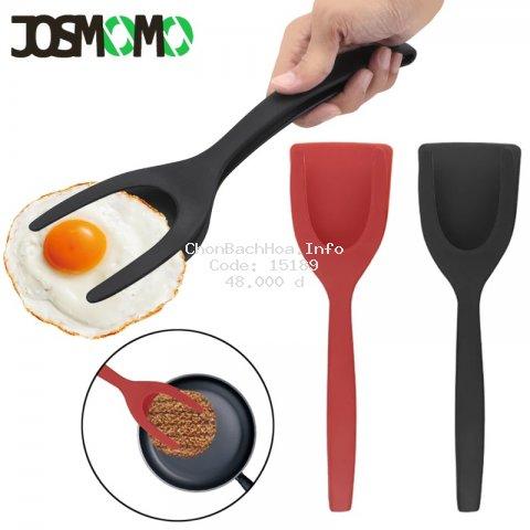 JOSMOMO Muỗng trứng tráng 2 màu silicone spatula, spatula nướng trứng 2 trong 1 silicone pancake nướng bánh mì, có thể được sử dụng để kẹp và lật thực phẩm
