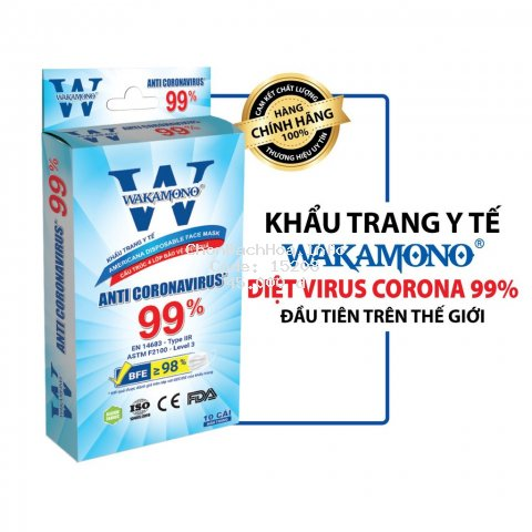 Khẩu trang y tế WAKAMONO – (4 lớp, hộp 10 cái)