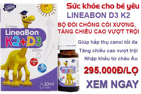Lineabon Vitamin D3 + K2 Tăng Chiều Cao